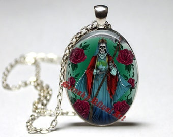 Occult, Death Reaper, Voodoo amulet, Day of the Dead, ritual, necklace,  jewelry, medallion, Saint Death, skull art, morte #435.1