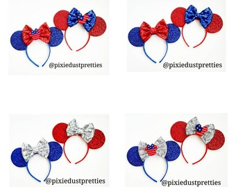 Patriotic Mouse ears, 4th of July, minnie, red Minnie, blue Minnie, flag, stars and stripes,  mouse ears