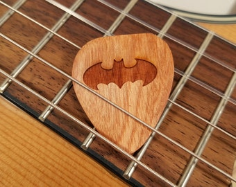 Batman Guitar Pick, Personalized Custom Engraved Batman Plectrum, Wood Laser Burned Batman Guitar Pick, Batman Logo guitar pick