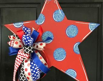 Polka Dot Star Red with Blue glittered Dots Door Hanger