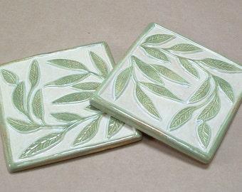 Tile Coaster set of 2 handmade Willow leaf tile coasters, green & taupe Housewarming gift