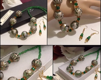 Emerald Green & Gold Necklace with Matching Earrings and Magnetic Clasp by Emerald Forest Designs