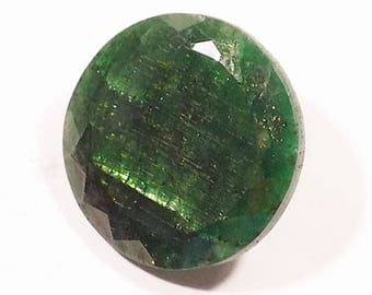 179 Carat-Green Emerald Handmade Cutstone Round Shape Loose Gemstone 35x35 mm Approx-Free Shipping