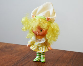 Vintage Kenner Lemon Meringue Doll, Strawberry Shortcake series, original with clothes, and hat circa 1980s
