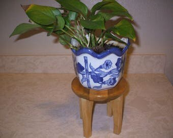 Handmade wooden table top plant stand
