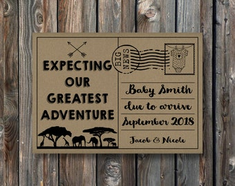 PRINTABLE Pregnancy Announcement Card Sign–Rustic Kraft Pregnancy Announcement Card–Pregnancy Reveal Card-Our Greatest Adventure Baby-PA23