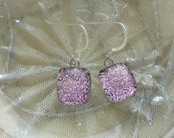 Pink Dichroic Glass Dangle Earrings.  Fused Glass Earrings. Pink Dangle Earrings
