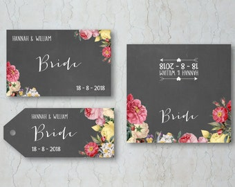 Floral Chalkboard Place Cards