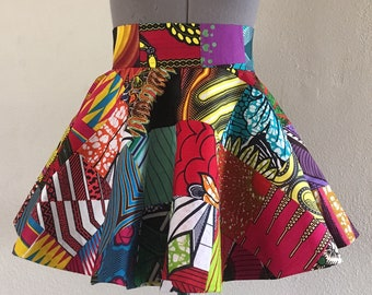 Reversible African Wax Print Patchwork and Speedbird Wrap Peplum Belt Lined Ties in The Back Made Custom to Fit 100% Cotton