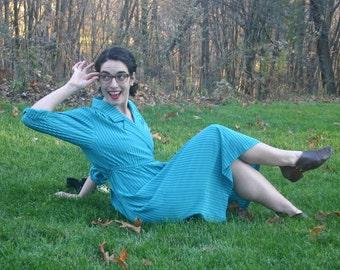 Secretary Dress Leslie Fay Teal Turquoise Size Small Medium Size 6