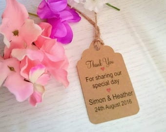 Handmade Personalised 'Thank you for sharing our Special Day' wedding tags/favours/twine included/handmade Packs of 12