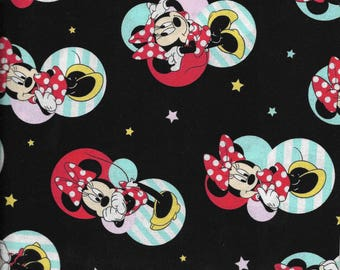 New Black Minnie Mouse Badges 100% cotton fabric by the yard and half yard