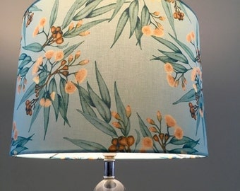 Eucalyptus and gum nuts lamp shade, mint drum lamp shade, eucalypt lamp shade, gumnuts,
