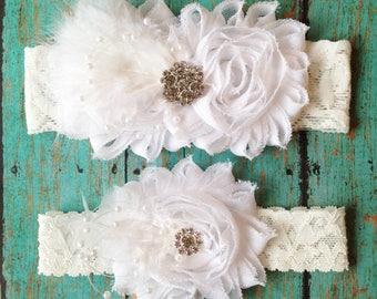 White Feather, Pearl, and Rhinestone Wedding Garter Set