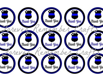INSTANT DOWNLOAD Police Thank You 1 Inch Bottle Cap Image Sheets *Digital Image* 4x6 Sheet With 15 Images