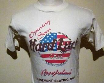 Hard Luck Cafe,Baghdad, vintage T-Shirt. Desert Storm memmorabillia. L.