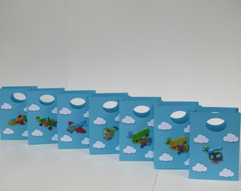 14 Airplane - Clouds Favor Bag  - Candy Bag Airplane Treat Bag – Airplane Gift Bag – Boy/Girls Birthday Party Favor Bag