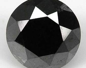 2.07cts 7.4mm Black Natural Loose Diamond