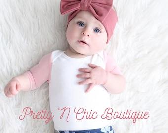 Dusty Rose Bow Headwrap - Baby Bow Headwrap