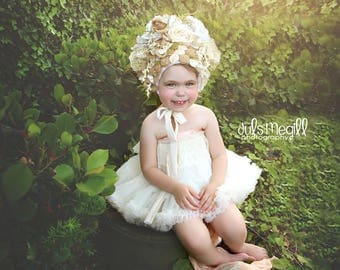CUSTOM ~ one of a kind flower Art bonnet ~ photogrpahy prop,costume,fine art photography,stylized photography,