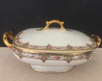 SALE - Vintage Vignaud Limoges Pattern VIG20 Wanamaker's Covered Dish - Serving Dish //LNA