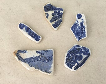 Sea Pottery - Beach Pottery - Sea Pottery Lot of 5 - Large Pieces of Blue and White Sea Pottery - Jewelry Supply - Craft Supply  // LN77