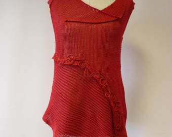 Amazing Summer red linen top, M size.