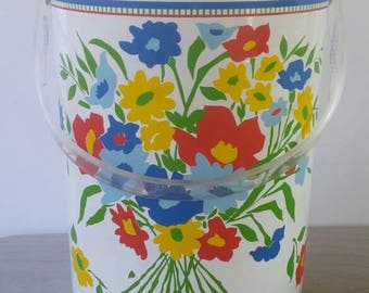 Vintage Georges Briard Ice Bucket Vinyl Extra Tall Flower Bouquet Primary Colors