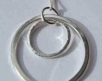 "Handmade Silver Double Hoop pendant with 24"" Chain"