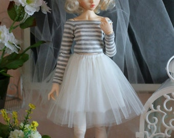 Top and tutu-skirt  for Minifee, Narae and regular MSD, BJD doll 1/4 size