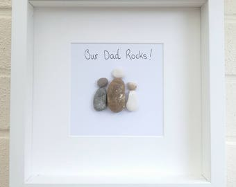 Our Dad Rocks Pebble Art frame Fathers Day Birthday Gift idea for him