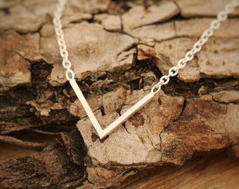 Handmade Sterling Silver Minimalist Necklace, V Shaped Necklace, layering Necklace, Everyday Piece, Comes with Gift Box