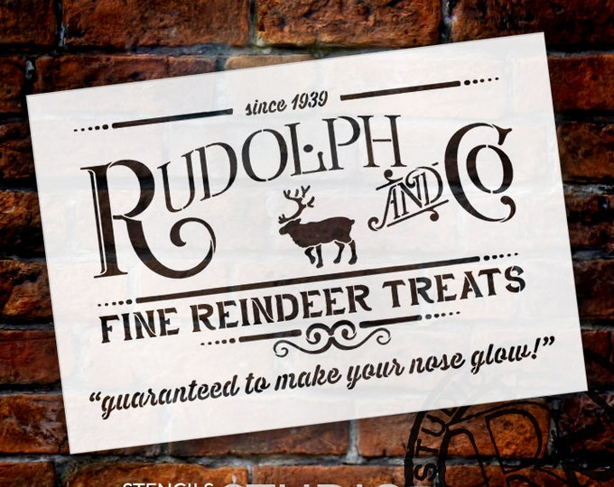 Featured listing image: Rudolph and Co. Stencil by StudioR12 |  Fine Reindeer Treats Christmas Word Art- Reusable Template | Use for DIY Signs SELECT SIZE- STCL1538
