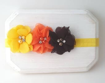 Yellow Orange and Brown Headband - Autumn Headbands - Fall Headbands - Thanksgiving Bow - Baby Headbands - Newborn Headband - Fall Hair Bows