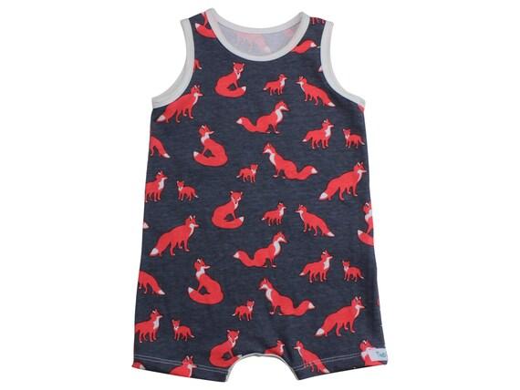 Boy Romper Fox Romper Baby Tank Romper Toddler Snap Boy Outfit Boy Short Romper Boy Clothing Foxes Gray Orange Baby Gift Bodysuit Onepiece