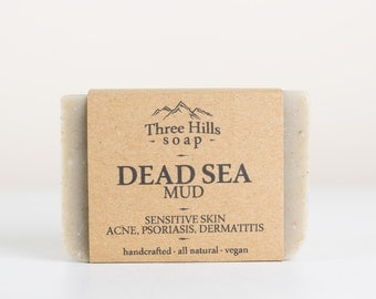 Dead Sea Mud Soap,Soap for Sensitive Skin and Psoriasis,Dead Sea Soap, Detox Soap, Clay Soap, Cold Process Soap, Unscented Soap, Vegan Soap