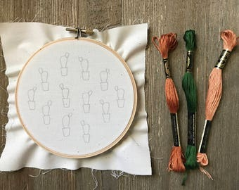 Embroidery Kit - Potted Prickly Pear Embroidery Kit with 5 Inch Hoop - Cactus Embroidery - DIY