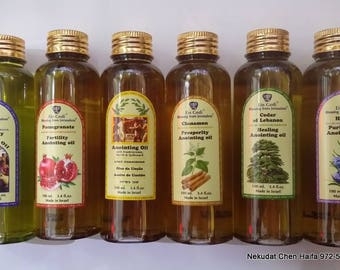 6 bottles of mix Anointing Oil 100 ml,3.4fl oz. Holyland Jerusalem and Jordan river holy water 50 ml,1.7 oz