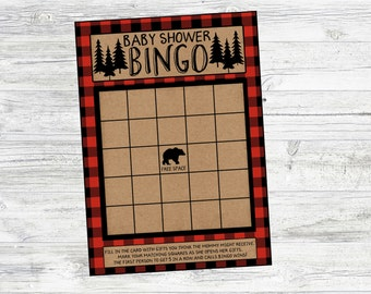 Baby Shower Bingo Game for Lumberjack, Winter, Mountain Baby Shower or Baby Sprinkle. Instant Digital Download
