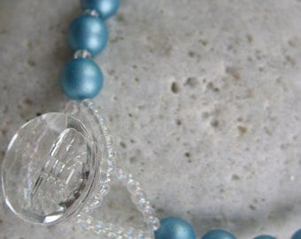 Pale Blue Czech Glass Pearl and Swarovski Crystal Bead Bracelet - OOAK