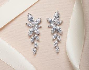 Dangle Earrings, Bridal Jewelry, Silver Earrings, Cubic Zirconia Earrings, Wedding Jewelry