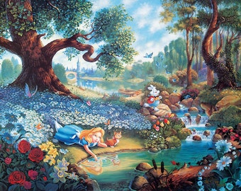 "Alice in Wonderland Thomas Kinkade ""Magical Journey"" Reproduction Print Mounted"