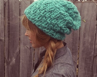Bulky Knit Slouchy Hat, slouchy beanie, knit beanie, bulky hat, wool hat