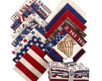 American Honor Fat Quarter Bundle w/Panel-12 Fat Quarters-Blank Quilting