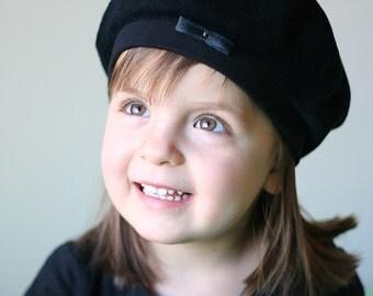 Kid's French Black Velvet Beret hat //Baby Girls Toddler Tam hat //Photo Prop