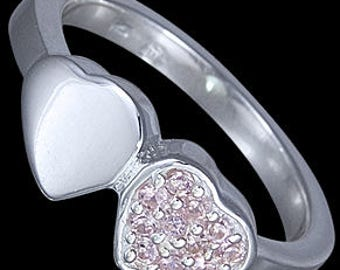 Double heart ring, solid 925 sterling silver ring with AAA+ cubic zirconia gemstones