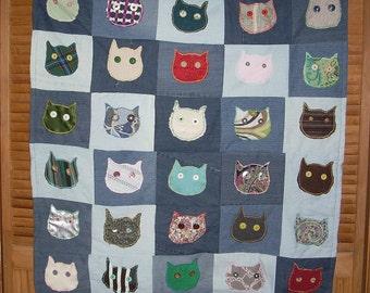 Owl Heads Fabric Art Throw Blanket #1