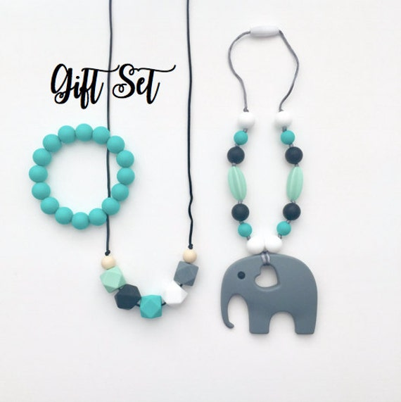 Silicone Teething Accessory Gift Set | Baby Boy or Gender Neutral! Silicone Teething Necklace for Mom