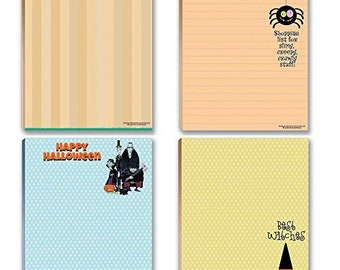 Halloween Notepads - 4 Assorted Funny Halloween Notepads - Monsters, Pumpkins, Witches - 626