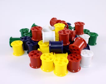 Plastic Cotton Reels Pack of Brightly Coloured Washable Cotton Spools Choose Quantity